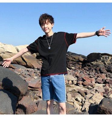 t恤男短袖夏季2019新款韓版潮流半袖衣服男士bf體恤衫拼接男裝 短袖POLO衫