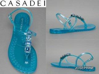 喬瑟芬【CASADEI】母親節特價$9000~2013春夏 藍色 水晶 果凍人字涼鞋