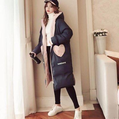 棉服女冬裝2019新款兩面穿ins棉襖外套潮chic過膝中長款羽絨棉衣