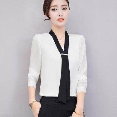 新品春季款雪紡衫女V領裝飾帶打底衫韓版...