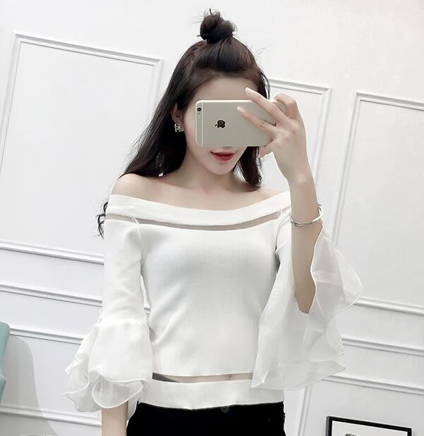 一字領上衣女夏短袖2018新款韓版拼接荷葉邊喇叭袖露肩針織打底衫