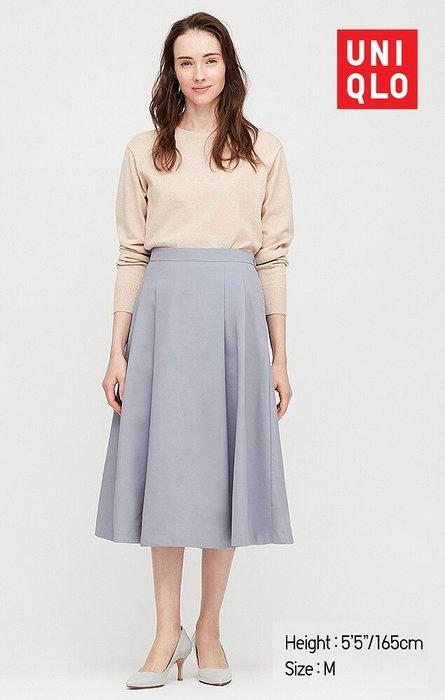uniqlo-高腰DRY彈性-打褶寬襬裙-M號(斷貨款)