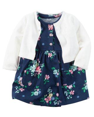 ~Carters~卡特 美國正品 深藍碎花短袖洋裝 包屁連身洋裝  白色小外套 兩件組套裝