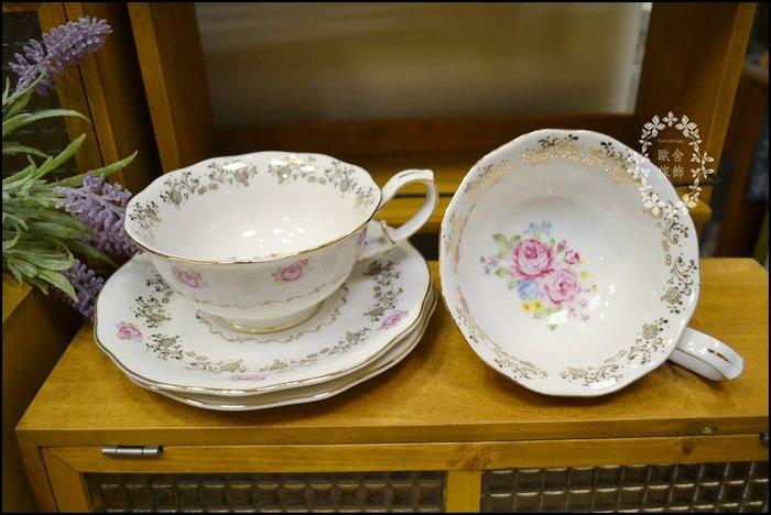 英式古典風 白色玫瑰描金花茶杯 一杯一盤 杯盤組下午茶早餐咖啡杯陶瓷瓷器茶具杯盤收藏展示祝賀新婚送禮品入厝【歐舍家飾】