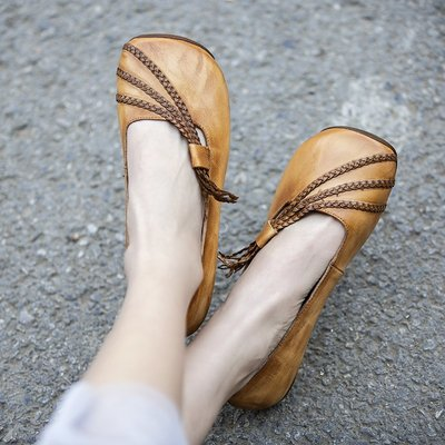YouDo XZ 春夏季新款文藝復古編織帶軟平底淺口單鞋擦色牛皮牛筋軟底女鞋