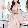 日韓服飾*方領蕾絲連身洋裝(淡紫)*韓國連線...