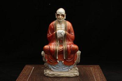 ㊣姥姥的寶藏㊣民國粉彩描金十八羅漢雕塑瓷像