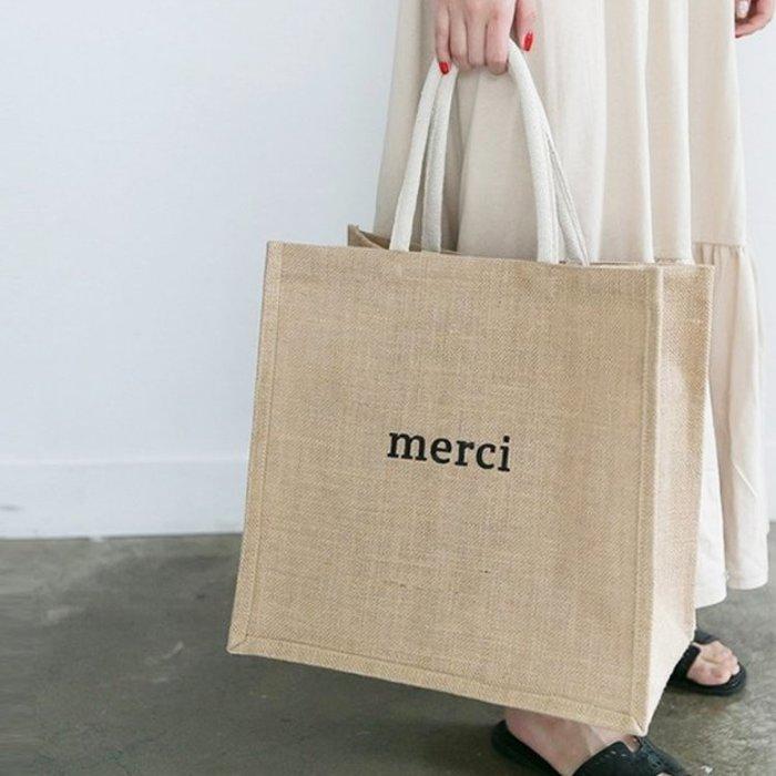 韓國手提包字母麻布包2019夏季草編購物袋手提單肩包