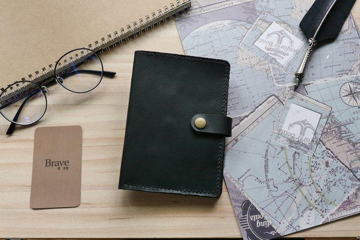 【Brave革 手作】皮革護照套 有扣   尊爵黑  護照套  免費客製化刻字