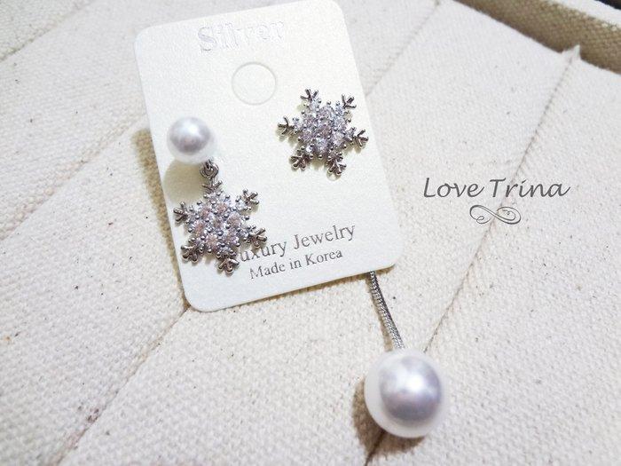 【Love Trina】8149-3。 925銀針。亮鑽雪花不對稱珍珠耳針式耳環--銀針(1色)