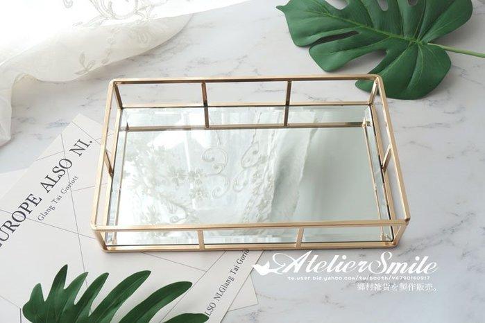 [ Atelier Smile ] 鄉村雜貨 復古歐式 手工銅製 鏡面 玻璃展示首飾 收納盒 花盒 首飾盒 (現+預)