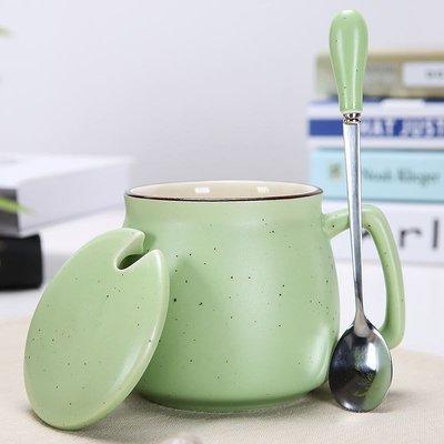 禧禧雜貨店-家用新款陶瓷杯子大容量杯帶蓋勺可愛女生喝水清新口杯辦公室簡約#新款