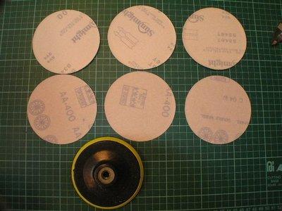 黃色4吋自黏式橡膠磨盤(魔鬼氈)-牙口為M10(標準牙) 4吋砂輪機可直接使用 (含6片4吋的自黏式砂紙--拿到後--4