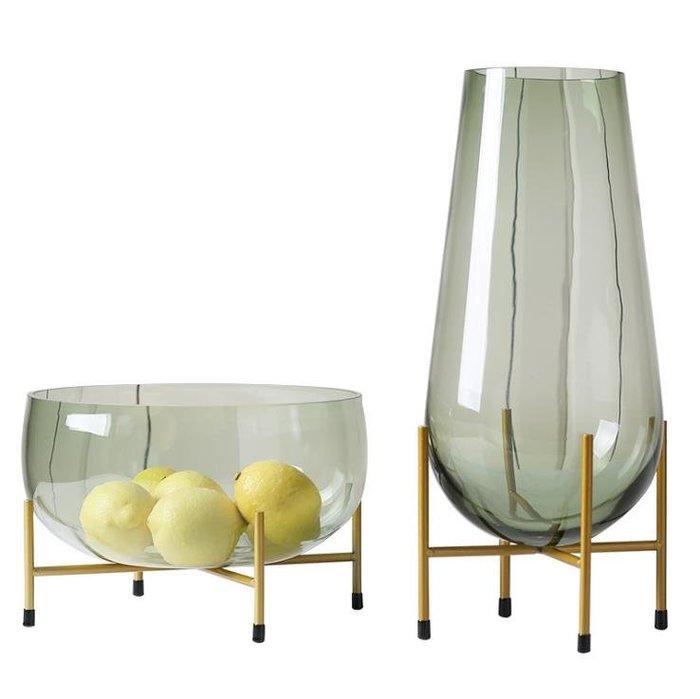 #創意 裝飾品 居家輕奢玻璃花瓶大果盤擺件現代簡約家居客廳軟裝飾品樣板房