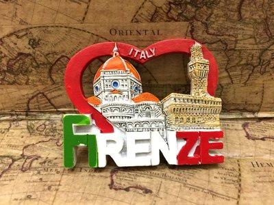 *歐米.O-MI*~ 義大利佛羅倫斯/翡冷翠(Firenze)著名景點字母造型手工立體彩繪旅遊磁鐵 世界城市旅遊紀念品