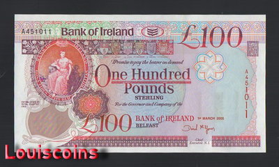【Louis Coins】B836-NORTHERN IRELAND-2005北愛爾蘭鈔票-100 Pounds