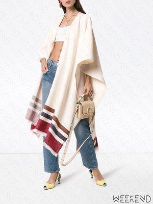 【WEEKEND】 THREE GRACES 抽鬚 線條 長版 披巾 披肩 披風
