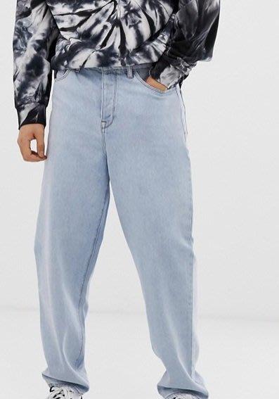◎美國代買◎ASOS代買寛鬆褲管搭配淺藍刷色復古英倫時尚街風淺藍色高腰寛鬆牛仔褲~大尺碼~歐美街風