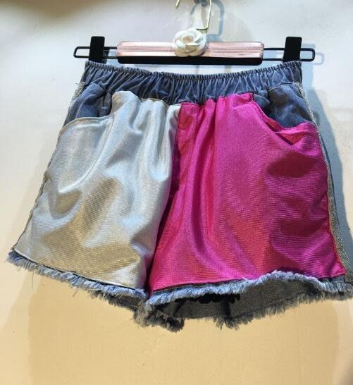 短褲 夏季時尚新款松緊腰拼色毛邊百搭潮流闊腿牛仔褲 —莎芭