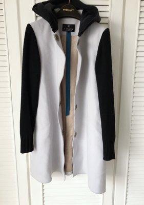 【 LANVIN  】CASHMERE 拼接針織羊毛灰藍X黑 A-line 大衣