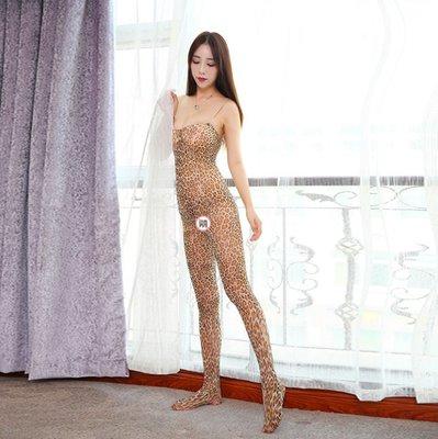 性感吊帶開檔露乳豹紋連身襪緊身露背連體襪 曉8001