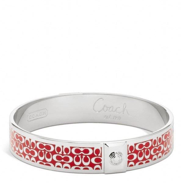 大降價!全新名牌 COACH 紅底琺瑯配銀色 logo 字,金屬中寬版手環,低價起標無底價!本商品免運費!