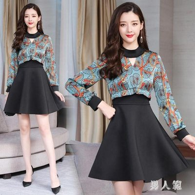 民族風洋裝 春季新款女裝雪紡拼接高腰打底裙中長款連身裙 FR5360NRF