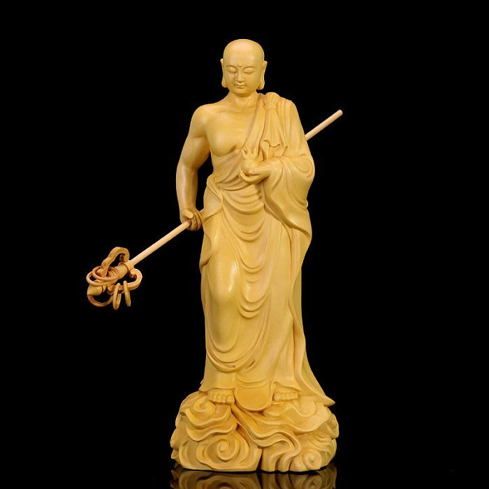 【睿智精品】黃楊木 神像 佛像 南無地藏王菩薩擺件 法像莊嚴(GA-5125)