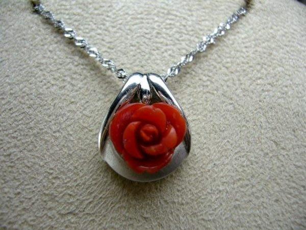 [吉宏精品交流中心]阿卡 AKA 天然紅珊瑚 玫瑰 造型 墬子