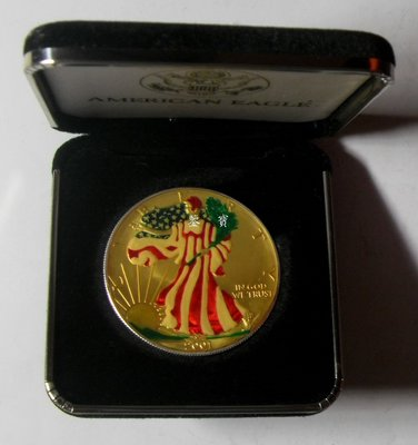 【鑒 寶】(世界各國錢幣)a a a - 美國 2001年 1$美元 自由女神 彩色 盒裝 大銀幣 - AAA BTG3323
