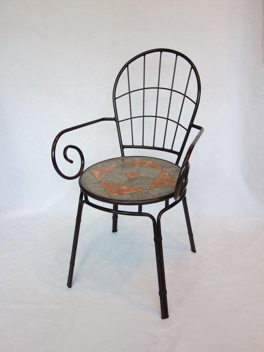 【南洋風休閒傢俱】戶外休閒桌椅系列-馬賽克格子椅 戶外餐椅 鐵餐椅 石面餐椅 適戶外 餐廳 民宿(#780145)