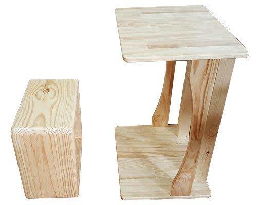 【森林原木手工家具】原木邊桌+口字型椅子組合