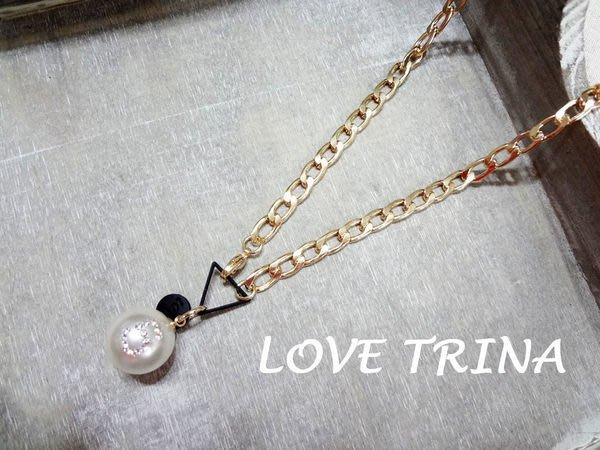 【Love Trina】韓國進口。正韓。4935-0607 歐美風單顆5號珍珠短項鍊。飾品 (單一色)