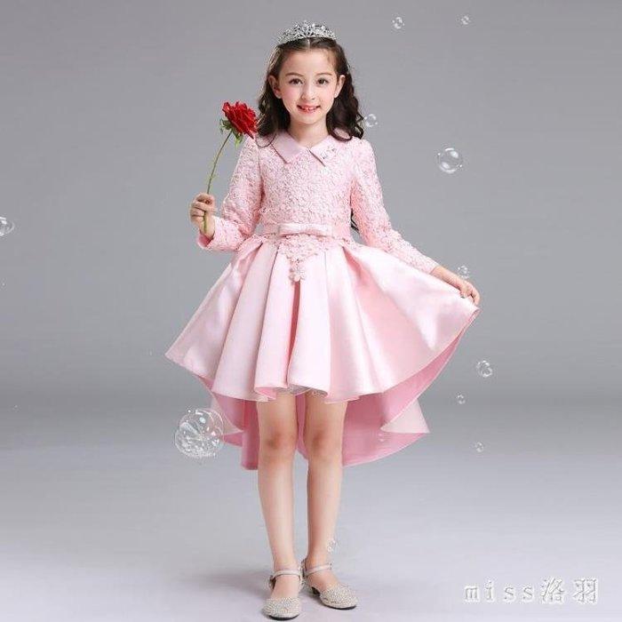 中大尺碼公主裙女童花童禮服主持人鋼琴演出拖尾裙中大童走秀兒童長裙 js10703