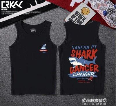 背心-男士鯊魚印花背心男潮牌學生無袖t恤運動寬鬆潮流坎肩汗衫