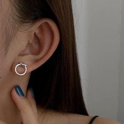 SWEET COVE~925銀打結幾何耳環簡約ins小眾設計感冷淡風氣質女耳釘2020新款潮