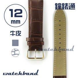 【鐘錶通】C1.22AA《霧面系列》鱷魚格紋-12mm 霧面褐┝手錶錶帶/皮帶/牛皮錶帶┥