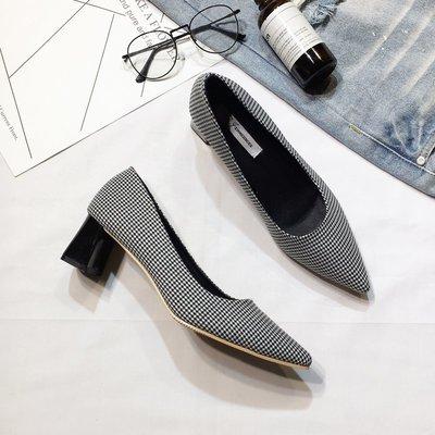 韓版時尚格紋粗跟單鞋女士春季新款2018絨面高跟鞋淺口氣質尖頭鞋