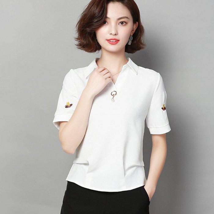 休閒年夏季新款短袖女裝純色雪紡襯衫女氣質通勤連身裙翻領雪紡襯衫【每個規格價格不同】