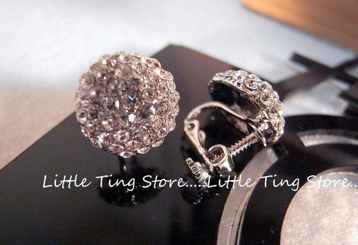 Little Ting Store:施華洛世奇BLING立體滿版鑽螺旋貼耳夾式耳環水晶鑽耳環貼耳飾