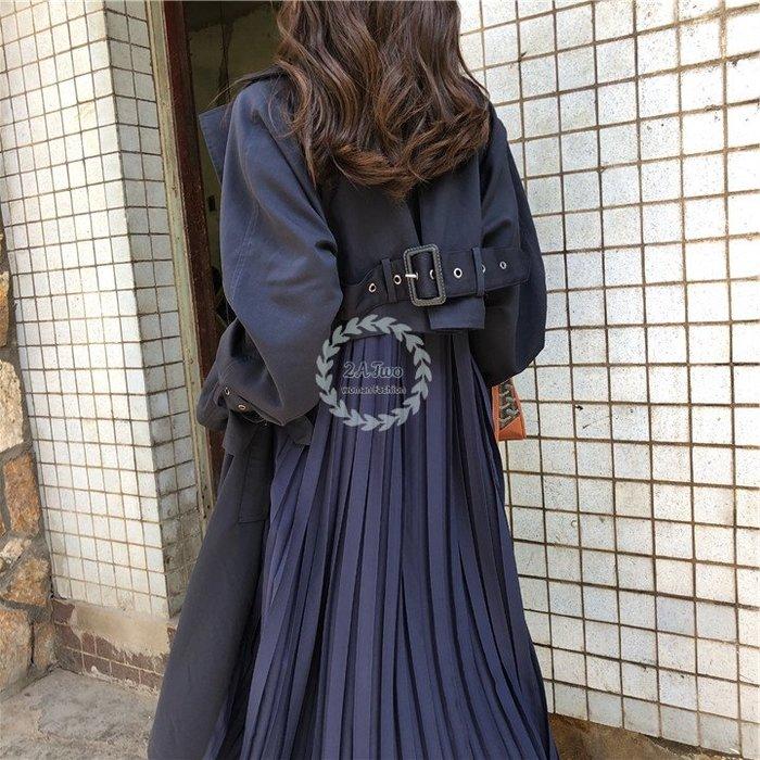 【2A Two】韓國ω 拼接百褶裙擺 設計款 風衣 外套 大衣『381016002』