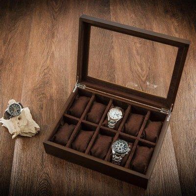 現貨/木制天窗手表盒子十格木質首飾手鏈手串展示盒收納盒 igo/海淘吧F56LO 促銷價