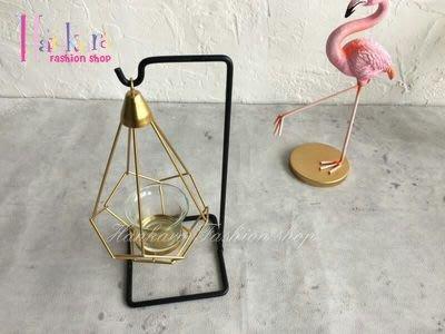☆[Hankaro]☆ 浪漫燭光簡約歐式鐵藝幾何水滴造型燭台附墊子蠟燭(單瓶)~(合併批發另洽)