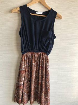 降價~女人窩~韓國豹紋點點氣質傘狀收腰雪紡無袖小洋裝