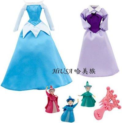 哈美族 美國迪士尼 Disney 睡美人 Aurora 奧蘿拉公主 芭比娃娃 2件禮服+3個魔法仙女+梳子組