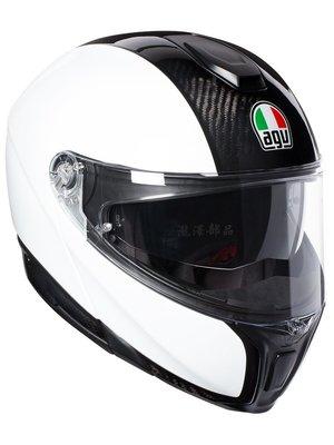 瀧澤部品 義大利 AGV Sportmodular Carbon 亮白 碳纖維 可樂帽 汽水帽 雙鏡片 輕量 通勤重機