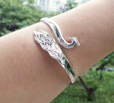 嗨,寶貝銀飾珠寶* 925純銀☆999純銀 孔雀純銀開口手環 手鐲 適合男女配戴 可調節