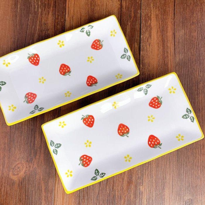 現貨/草莓10吋長型餐盤 北歐餐盤 壽司盤 魚盤 長盤 甜點盤 餐具 盤子 陶瓷盤 草莓餐盤 INS風 可愛餐盤 下午茶