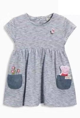 kitty house (864B12C) 童裝 peppa pig 圓領 純棉 短袖 間條 連衣裙 $110包郵
