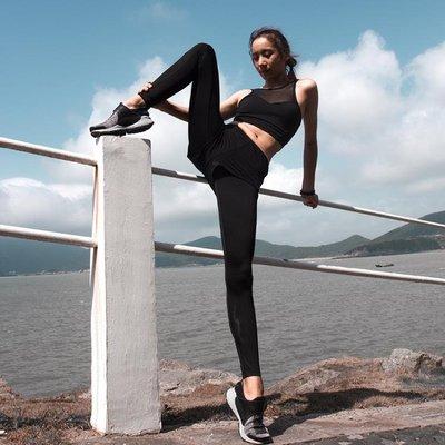 高腰緊身假兩件緊身運動健身褲女彈力速干跑步瑜伽運動長褲壓縮褲